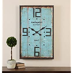 Retro Paris Blue Square Wall Clock | Art Deco Distressed
