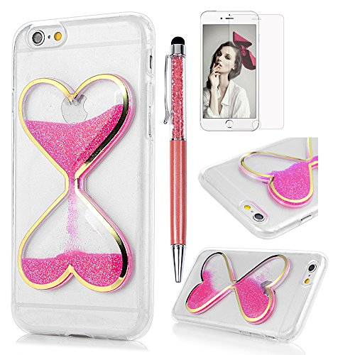 MOLLYCOOCLE iPhone 6 Case,iPhone 6S Case,Bling Liquid Glitter Shiny Flowing Sand Love Heart Quicksand Sandglass Design Ultra-Thin Soft Transparent TPU Cover for iPhone 6 & iPhone 6S - Pink -