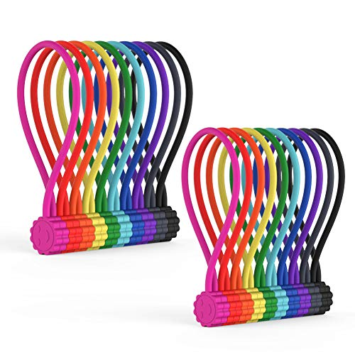 Rich&Ray 10Colors-20Pack Reusable Silicone Twist Ties with Strong Magnet for Bundling and Organizing Cables/Cords, Hanging or Holding Stuff, Can Be Used in Many Ways or Just for Fun
