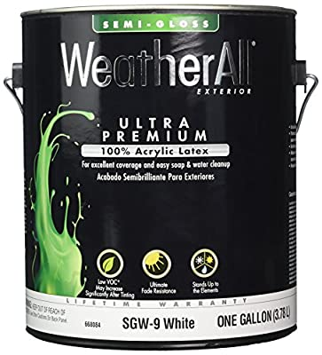 True Value SGW9-GL WeatherAll 1-Gallon White Semigloss Latex House Paint