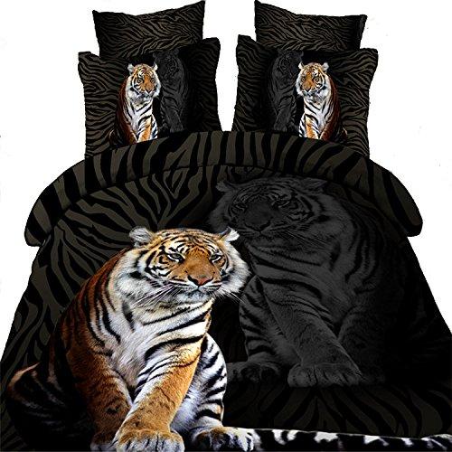 SUNVIVA,Skincare Tiger,Queen Size,Reactive Printing 3D Bedding Set,1Duvet Cover,1Flat Sheet,2 Pillowcases(no Comforter inside)