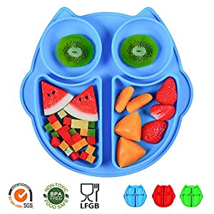 SJ Silicone Placemat for Kids, Silicone Divided Toddler Plates BPA-Free Owl Baby Suction Placemat - Dishwasher and Microwave Safe - Soft FDA/LFGB Certified Silicone - Great for Baby or Kids (Blue)