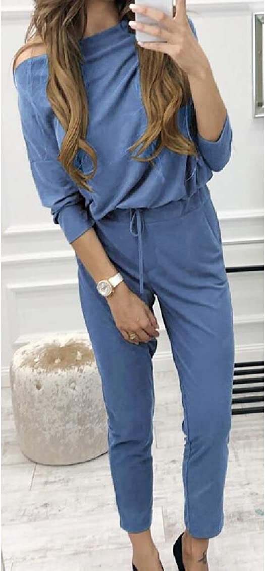 Sweatwater Women Solid Romper Casual Playsuit Long-Sleeve Jumpsuit