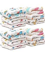 12 Pz Toallitas Muselina Bebé, Toalla Facial Infantil, 30x30cm - Paños de Algodón Extra Suaves de 6 Capas - Altamente Absorbente, Lavable y Reutilizable - para la Piel Sensible del Recién Nacido.