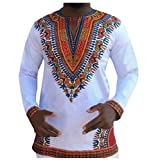 Doufine Men African Floral Folk Style V Neck Tops Slim Fitted T-shirts White S