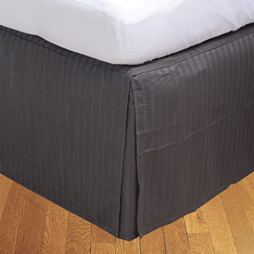 BudgetLinen (1 Box Pleated Bed skirt Only,Elephant Grey Stripe , King , Drop Length 18 inches) 100% Egyptian Cotton Luxurious 400 Thread Count - Custom Drop Pleated Bed Skirt