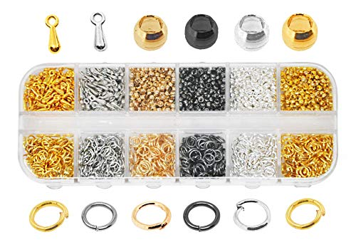 Mandala Crafts Metal Crimp Beads End Spacer Findings Variety Pack Set for Jewelry Making Beading Crafting (2.5mm 2400 PCs, Silver Gold Platinum Gunmetal)
