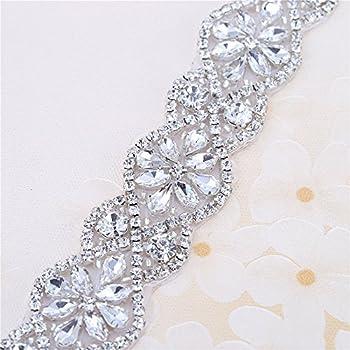 Rhinestone Silver Applique Patch Dainty DIY Wedding Bridal Dress Gown Sash Belt Hair Comb Embellishment Glue Sew Iron On Prom Flower Girl