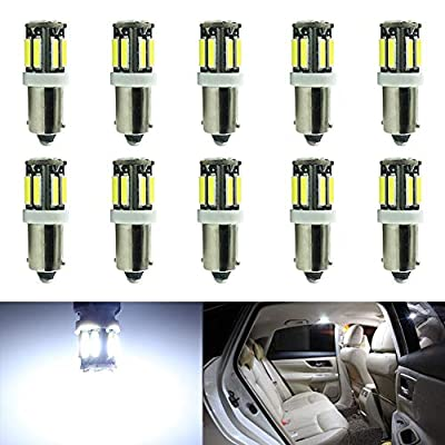 10-Pack BA9S 12146 BA9 53 57 1895 64111 White 12V LED Light - 7020 10SMD Car Interior Replacement Bulb for Map Dome Courtesy Trunk License Plate Side Marker Light - Diameter 9mm: Automotive