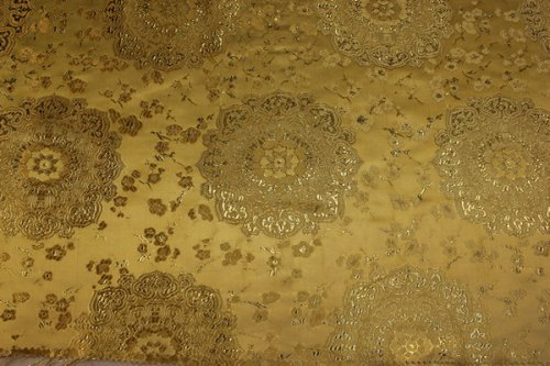 Gold Gold Jacquard Brocade Fabric with Beautiful Floral Pattern, Fancy Brocade Fabric in 12 Colors