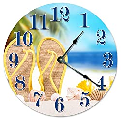SANDALS IN THE SAND CLOCK Large 10.5 Wall Clock Decorative Round Novelty Clock, BEACH DECOR