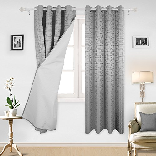 Deconovo Stripe Jacquard Total Blackout Curtians with Triple-pass White Coating Back Layer Thermal Insulated Curtains For Living Room Light Grey One Pair 52 X 84 Inch
