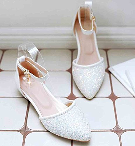 Sandals Charms Ankle Heel Aisun Women's Buckle Toe White Sequins Square Low Pointed qvnFnSHZ