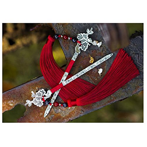 LuckySHD Antique Metal Bookmark Beaded Bookmark with Tassel(Red Plum Blossom) (Beaded Blossom)