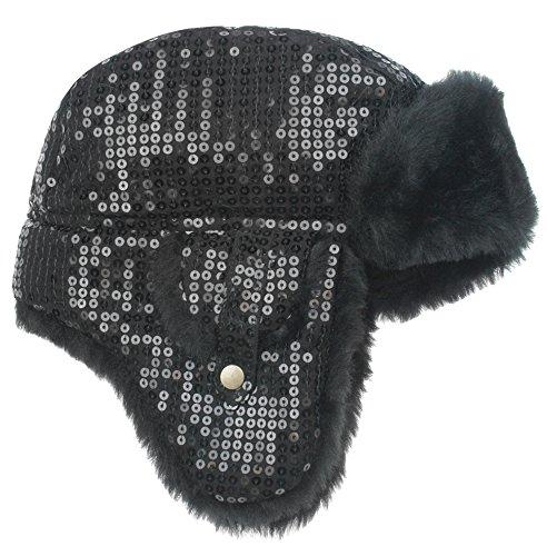 Trim Earflap - Capelli New York Sequin Jersey Short Earflap Hat With Faux Beaver Trim Black