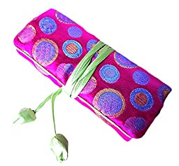 iSuperb Travel Jewelry Roll Polka Dot with Silk Embroidery Brocade Elegant and Bold Travel Jewelry Case Christmas Gift 9.5x7 inch(Polka Dot Rose)