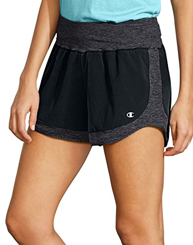 Champion Womens Sport Short - Champion Women's Sport Short 6, Black/Granite Heather, XL