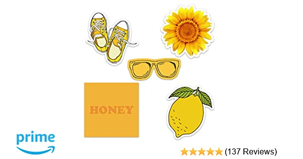 Cute Yellow Vinyl Laptop and Water Bottle Decal Sticker Pack for Girls,  Made in US