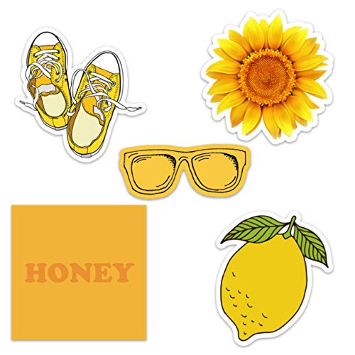 Cute Yellow Vinyl Laptop and Water Bottle Decal Sticker Pack, Made in US ()