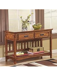 Ashley Furniture Signature Design   Cross Island Sofa Console Table    Vintage Casual   Medium Brown