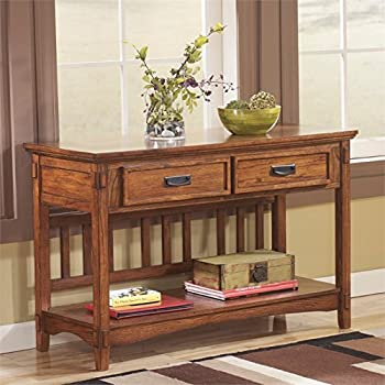 Ashley Furniture Signature Design   Cross Island Sofa Console Table    Vintage Casual   Medium Brown