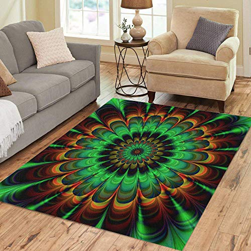 - Semtomn Area Rug 2' X 3' Brown Fractal Abstract Flower in Verdigris Colors Digitally Rendered Home Decor Collection Floor Rugs Carpet for Living Room Bedroom Dining Room