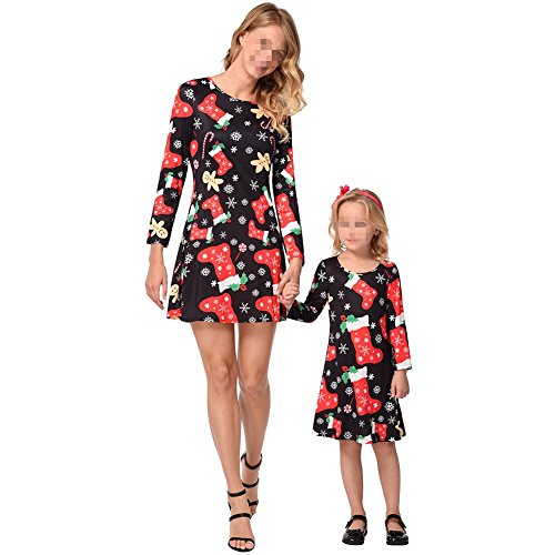 Mommy and Me Christmas Dress Outfit Long Sleeve Midi Dress Matching Set Santa Claus Print Mom and Girl's Family Clothing (A, 7-8Y) ()