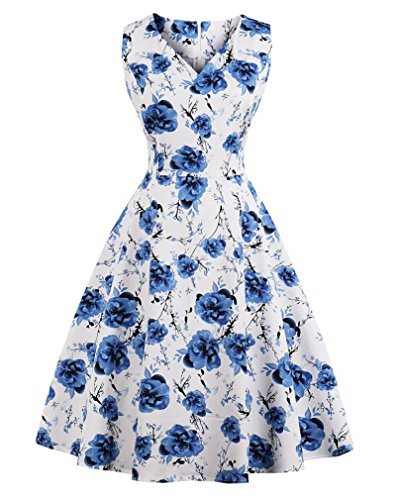 VERNASSA 1950s Vestidos para Mujer, 50s Vestido Retro con Estilo del Oscilación de la Tarde de la Vendimia del Baile de Fin de Curso del Club del Coctel del Algodón del Estilo de Hepburn 1620-flor Azul