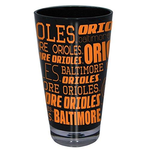 MLB Baltimore Orioles Plastic Color Pint Glass, 16 oz., Team Color