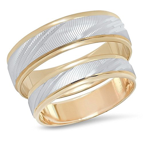 14K Solid White and Yellow Gold His & Hers Matching Wedding Band Ring Set Laser Cut (Choose a Size) (His And Hers Wedding Bands Yellow Gold)