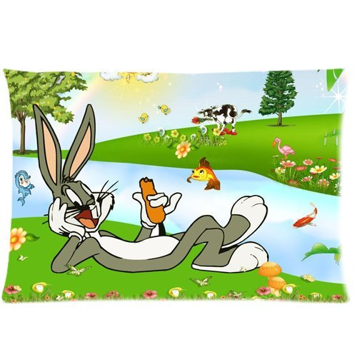 Peach skin DIY Pillow Cases Cover cartoon bugs bunny Custom Cotton/Polyester20x30 Inch (two sides)