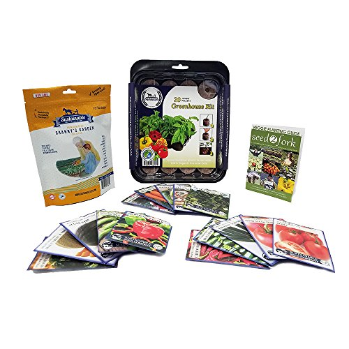 Granny's Garden Heirloom Vegetable Seed Collection, 15 Variety, Non GMO Heirloom Beet, Carrot, Cucumber, Basil, Kale, Lettuce, Melon, Onion, Pea, Pepper, Squash and Tomato Seeds (w/Greenhouse)