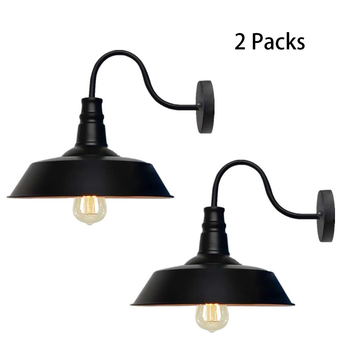 Alltrust Retro Black Wall Sconce Lighting Gooseneck Barn Lights Industrial Vintage Farmhouse Wall Lamp Led Porch Light for Indoor Bathroom (2 Packs)