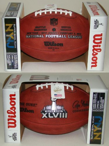 (Wilson Super Bowl 48 (XLVIII) Official NFL Leather Game Football - with Team Names Seattle Seahawks vs Denver Broncos)