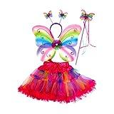 Mozlly Neon Rainbow Glittery Butterfly Fairy Tutu Costume - Includes Wings, Tutu, Wand and Headband - Pretend Play Dress up (4pc Set) - Item #110092