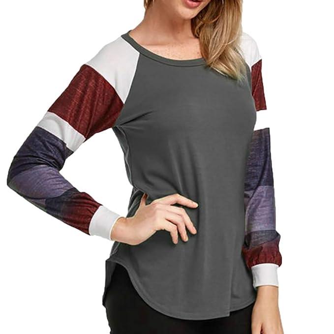 Longra❤ ❤ Bloque de Color a Rayas de otoño Casual Elegante Camiseta Tops