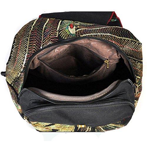 Dos Bandoulière école Daypack Casual Ordinateur Sac Black à College Imprimé Pour Sac Lady Broderie Sac à Les Sacoche à Femmes Toile Dos Ethnique P6UPqwr1