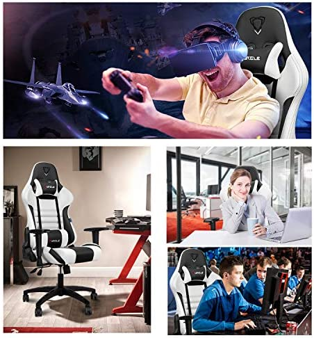 【New Update】 Furgle Gaming Chair Racing Style High-Back Office Chair w/PU Leather and Adjustable Armrests Executive Ergonomic Swivel Video Game Chairs with Rocking Mode & Headrest and Lumbar Support 512ACLOwMZL