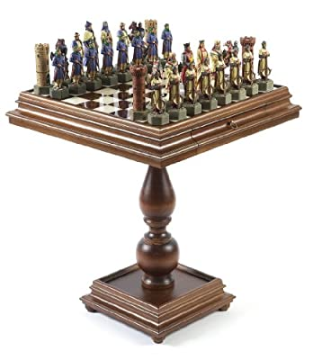 Crusade Chessmen & Monticello Alabaster Chess Table from Italy