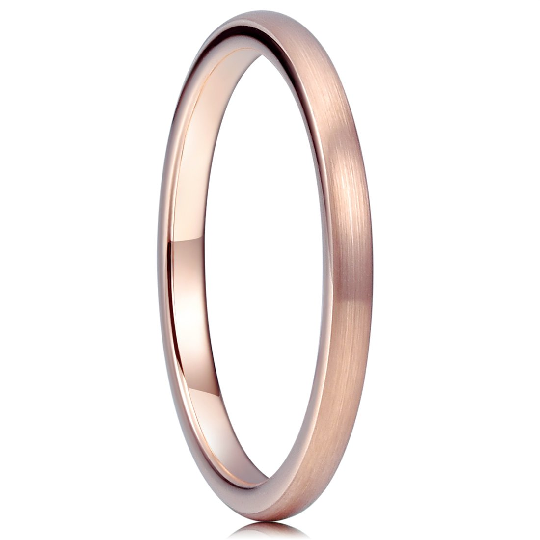Three Keys Jewelry 2mm Tungsten Carbide Wedding Ring for Women Plated Rose Gold Wedding Band Engagement Ring Brushed Comfort Fit Size 6.5