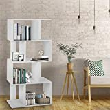 JOO LIFE S Shaped Bookcase/Z Shelf Modern Open Bookcase/Tall Large Wide 4 Shelf Brown Wood Shelf Display Bookcase/Free Standing Bookcase