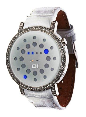 Binary THE ONE ORS504B1 - Reloj digital unisex de cuarzo con correa de piel blanca - sumergible a 30 metros: Amazon.es: Relojes