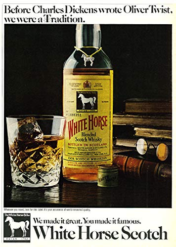 WholesaleSarong 1970 Liquor Ad, Charles Dickens, White Horse Blended Scotch Whisky Liquor ad Retro Poster Wall Poster Wall Art
