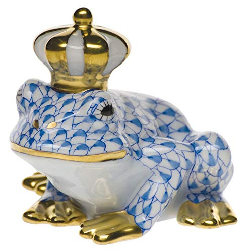 (Herend Frog Prince Porcelain Figurine Blue Fishnet)