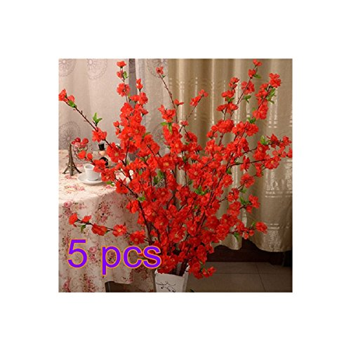 Branch Flower Plum (BELUPAID Artificial Spring Peach Blossom Cherry Plum Bouquet Branch Silk Flower, Artificial Fake Flowers for Wedding Home Office Party Hotel Garden Yard Tree Decoration (Red))