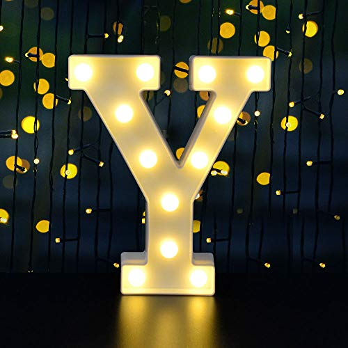 Dream Master Neon Light Sign LED Marquee Letter Lights Sign, Light Up Alphabet Letter for Home Party Wedding Decoration (White Y)