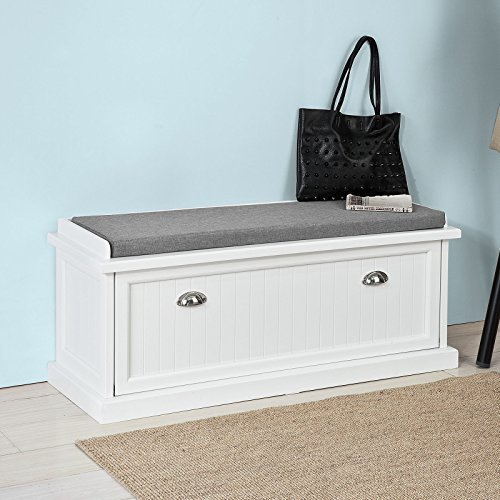 Haotian FSR41-W, White Storage Bench with Removable Seat Cushion, Bench with Storage Chest, Shoe Cabinet Shoe Bench