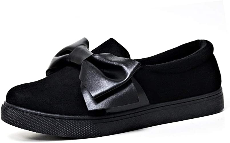 Womens Flat Casual Sneakers Bow Slip On