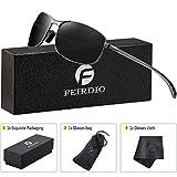 Rectangular Sport Polarized Sunglasses for Men - Feirdio Mens Sunglasses Sports Metal Frame 100% UV protection 2268 (black/gun, 2.24)