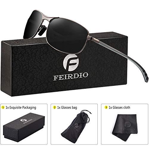 ca66188f25 Rectangular Sport Polarized Sunglasses for Men - Feirdio Mens Sunglasses  Sports Metal Frame 100% UV protection 2268 (black gun